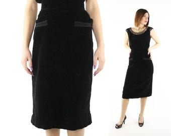Vintage 50s Pencil Skirt Black Velvet High Waisted LBD Little Black Dress Set Suit 1950s Small S