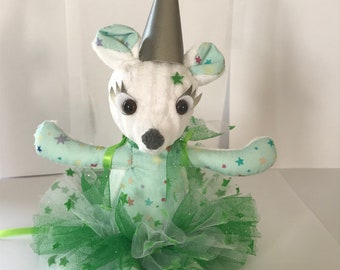 Plush green tooth fairy mouse