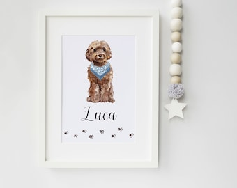 Dog Portrait - Personalised Cockapoo Print - pet portrait - Cockapoo - dog print - ideal gift for dog lovers - Cockapoo gift