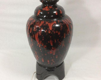 70s Black and Red Drip Glaze Pottery Ceramic Lamp