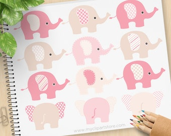 Pink and Brown Elephants Clipart, polkadot, stripes, chevron, baby shower, new baby, baby girl, commercial use, vector clipart, SVG cut file