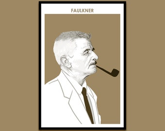 William Faulkner - Author Poster | Portrait Poster | Art Print | Literary Poster | Bookworm Gift | American Literature | Modern Home Decor