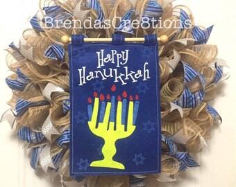 Hanukkah Wreath, Hanukkah Decorations, Menorah Ribbon Wreath, Winter Wreath, Holiday Wreath, Burlap Ruffle Wreath, Hanukkah Gift Idea,