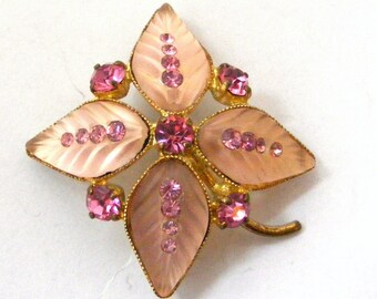 Burst of spring art deco pink Czech glass flower leaf brooch