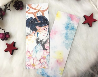 TWO-SIDED watercolor printed bookmark - Crystal Reindeer Fantasy Style