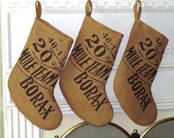 Burlap Christmas Stocking; Borax; Shabby Rustic Chic; Printed Industrial Style; Fully Lined Handmade; Natural color; Stocking Set