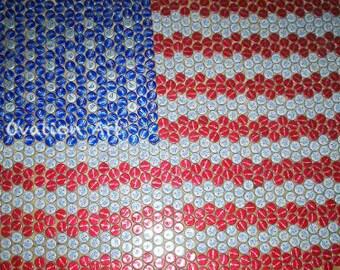 American Flag Bottle Cap Art