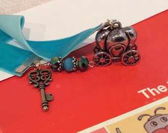 New Turquoise Velvet Ribbon Bookmark with Silvertone Cinderella Pumpkin Carriage Charm , Key Charm, and Faceted Blue Aurora Borealis Beads