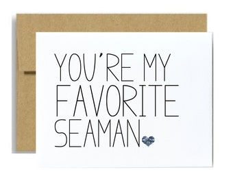 Navy military greeting card you are my favorite seaman navy graduation basic training care package card seaman greeting card