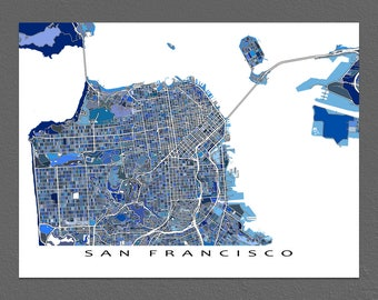 San Francisco Map Print, San Francisco Art, California City Map