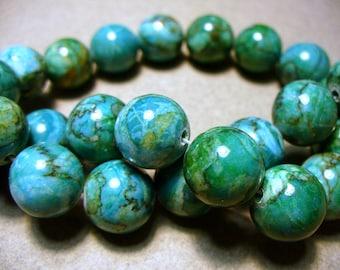 Web Jasper Beads Gemstone Green Round 14-15MM