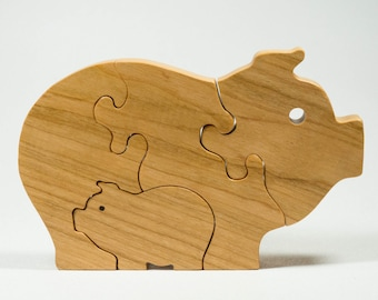 Wooden Baby Pig Puzzle, Wooden Baby Pig Toy, Baby Pig Puzzle, Baby Pig Toy, Personalized Toy