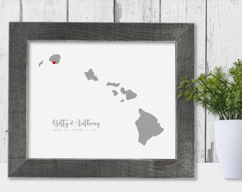 Hawaii Map State of Hawaii Wall Art Frame Canvas Guest Book Print Hawaii Wedding Gift Hawaii Love Personalize County Line Unique Her
