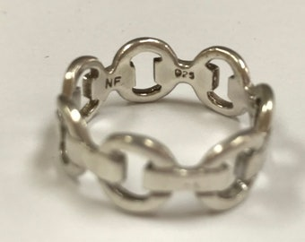 Vintage 925 Sterling Silver Chain Ring!!! Size 8.5!!