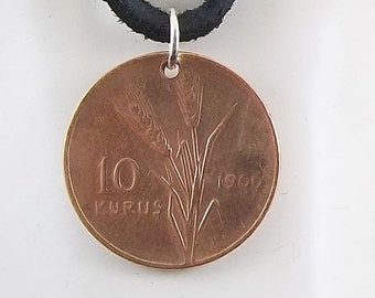 Turkey Coin Necklace, 10 Kurus, Coin Pendant, Leather Cord, Mens Necklace, Womens Necklace, Birth Year, 1966