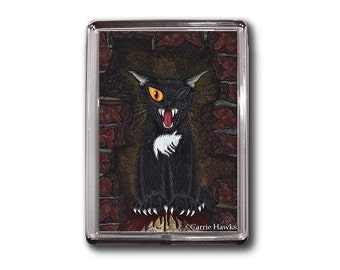 Black Cat Magnet E A Poe Horror Gothic Fantasy Cat Art Framed Magnet Gift For Cat Lovers