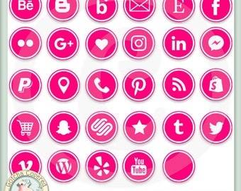 Social Media Icons ROUND BRIGHT PINK