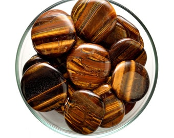 1 Large GOLD TIGER's EYE  Palm Stone Healing Crystal and Stone Palm TigerEye Tigers Eye Motivation Courage #GP33