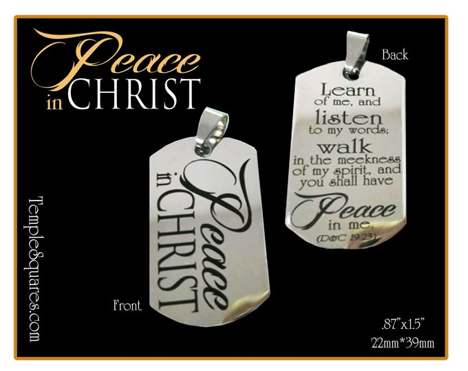 Peace In Christ 2018 YW Young Women Mutual Theme Jewelry Necklace Charms. Thick stainless steel dog tag shape.