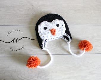 Crochet Penguin Beanie Baby Penguin Hat Crochet Newborn Penguin Hat Winter Penguin Hat Boy Girl Penguin Hat