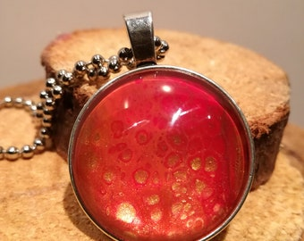 Silver plated necklace Arcylic Pour