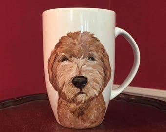 Goldendoodle mug, hand painted Goldendoodle mug, dog coffee cup, Goldendoodle coffee mug Goldendoodle art, hand painted mug. Art Ana Peralta