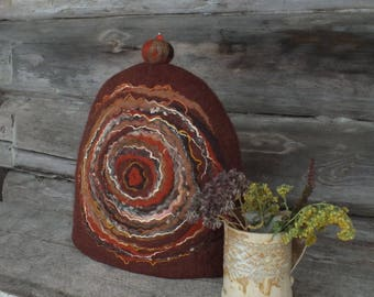 French Coffee Pot Warmer, Felt Coffee Cozy, Brown Felted Coffee Pot Cover, Woollen French Cosy