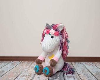 Crochet Rainbow Unicorn Amigurimi, Stuffed Animal, Plush
