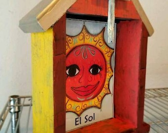 El Sol Lotteria Temple or Shadowbox. Hand Painted and assembledge.
