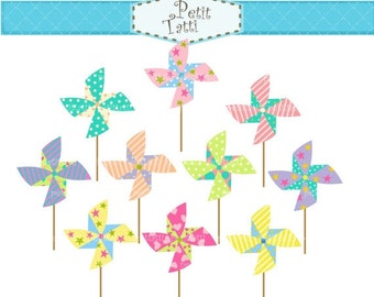 ON SALE Pinwheels clip art - pinwheel clipart, Digital clip art for all use ,Instant Download Clip Art