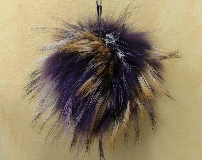 Fox Fur Pom Pom, Bag Pom Pom,Fur keychain F621