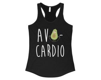 Avocardio Women Racerback Tank, Avocado Shirt, Avo-Cardio, Cardio is Hardio, Work out tank, work out clothes for women, funny workout shirt