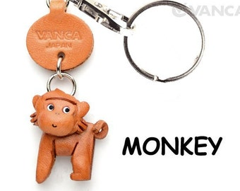 Monkey 3D Leather Animal Keychain Keyring Purse Charm Zipper pull Accessory *VANCA* Made in Japan #56213   Free Shipping