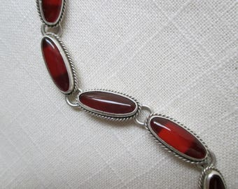 Carnelian and Sterling Silver Bracelet with Lozenge Shape Stones - Mexico
