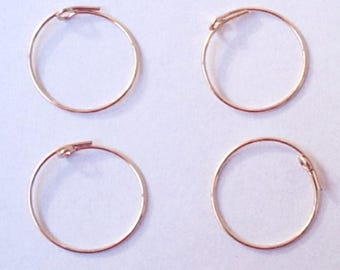 CLEARANCE - 10 (5 Pair) 19mm Beading Hoops - Gold Filled