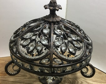 Bronze Crystal Pendant Light Fixture Old World Vintage Style