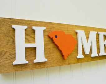 """Clemson Tigers """"State Heart"""" Home Sign - Handcrafted wood with official team colors"""