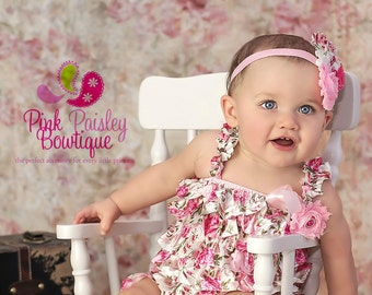 Baby Girl Clothes and headband, Baby girl 1st birthday outfit, Baby Dress, Shabby Chic Birthday Baby Cake Smash Outfit. 1st Birthday Photos