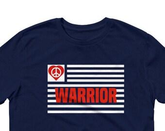Peace Warrior Tees, Peace Sign, World Peace, Peace on Earth-Sleeve T-Shirt