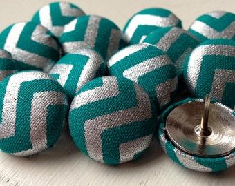Pretty Thumbtacks,15 Push Pins,Pushpins,Thumbtacks,Chevron Push Pins,Organization,Teal and Silver Chevron,Gift,Decorative Push Pins,Cubicle