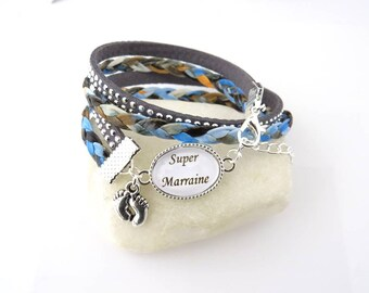 """gift for """"Godmother"""" liberty blue Bracelet, gift for a great godmother"""