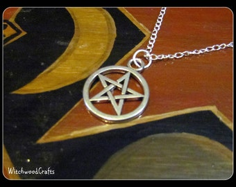 Silver Pentacle - Pendant Necklace - 18'' Silver Chain - Tibetan Jewelry - Pagan Wicca - Wiccan Witch - Witchcraft Charm - Pentagram