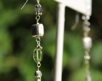 Sterling Silver and Gemstone Bead Linear Earrings