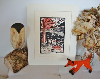 Autumn harvest. Glynhir. Llandybie. Carmarthenshire. Apple. Bee hive. Welsh orchard. Original linocut print