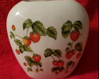 Vintage 1970s Strawberries Flat Ceramic Vase