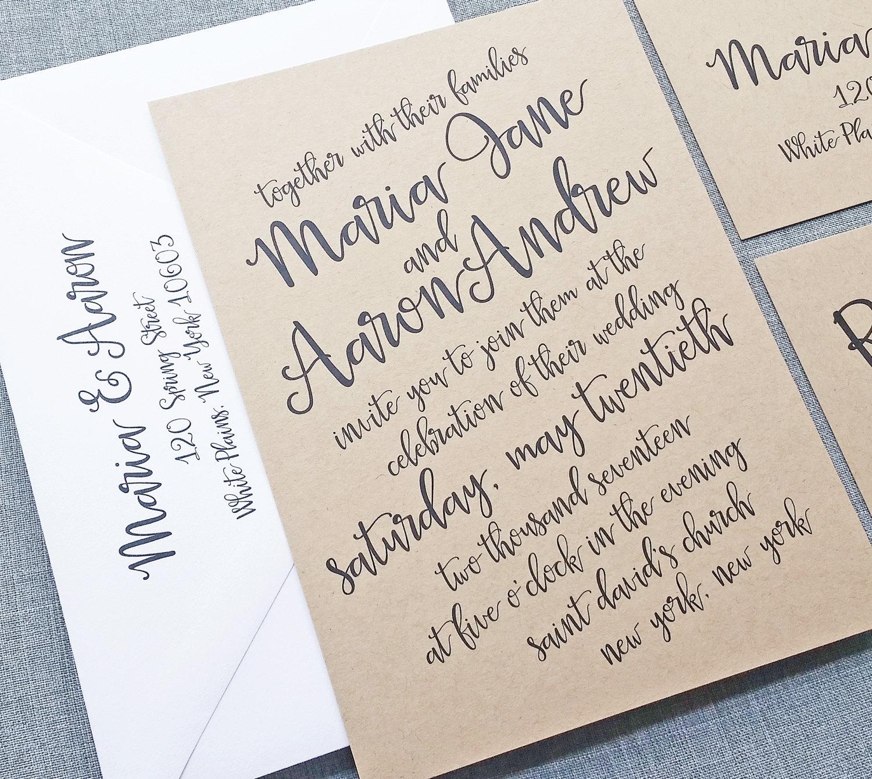 Maria Black Script Kraft Wedding Invitation Sample Hand