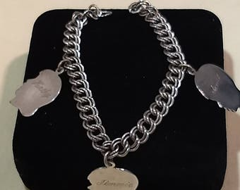 Sterling SIlver Bracelet Charm Chain with Three Silhouette Profiles Children Mid Century#B997