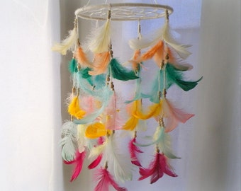 Dream catcher mobile, colorful baby dreamcatcher mobile, multi color feather mobile,  crib mobile, nursery dream catcher, baby shower gift