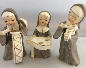 Vintage Thames Japan 3 Nuns Playing Musical Instruments Catholic Religious