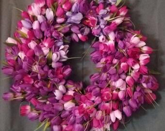 Spring Wreath, Tulip Wreath, Summer Wreath, Purple Wreath, Easter Wreath, Front Door Wreath